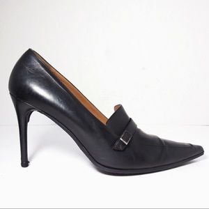 Gucci   9B   Black Leather Pointed Toe High Heels